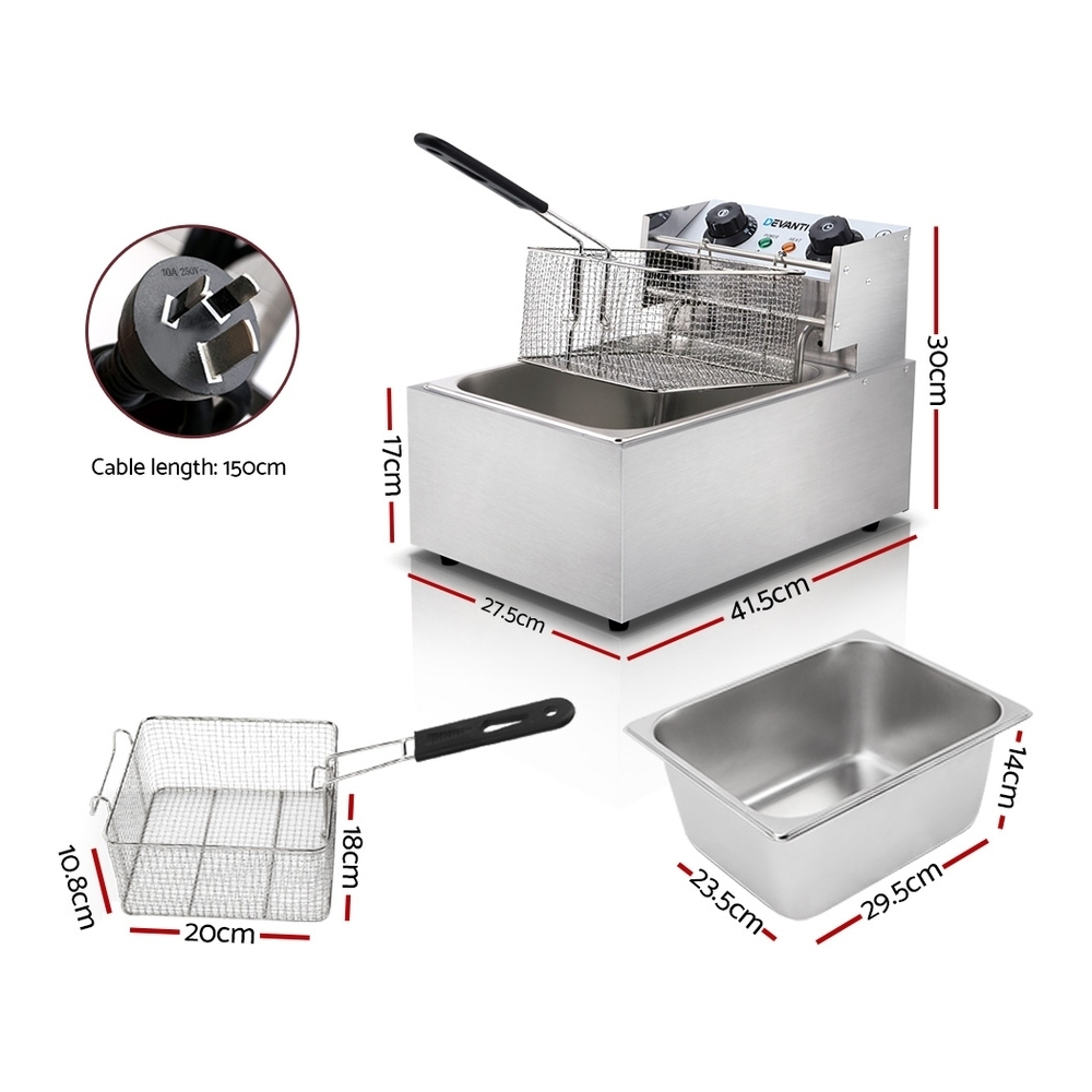 Brand New Devanti Commercial Electric Single Deep Fryer – Silver Fast Free Shipping