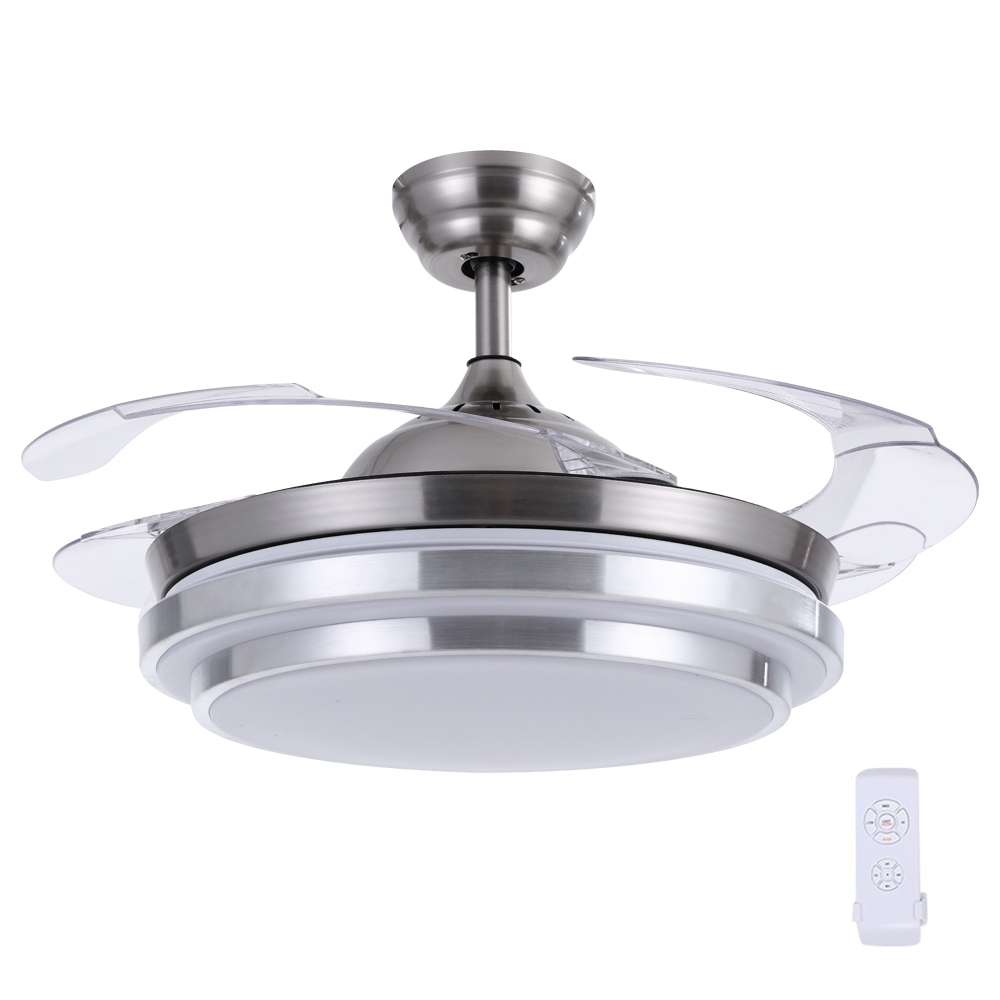 Brand New 42″ Ceiling Fan Lamp LED Light Retractable Blade Ceiling Fan with Remote Fast Free Shipping
