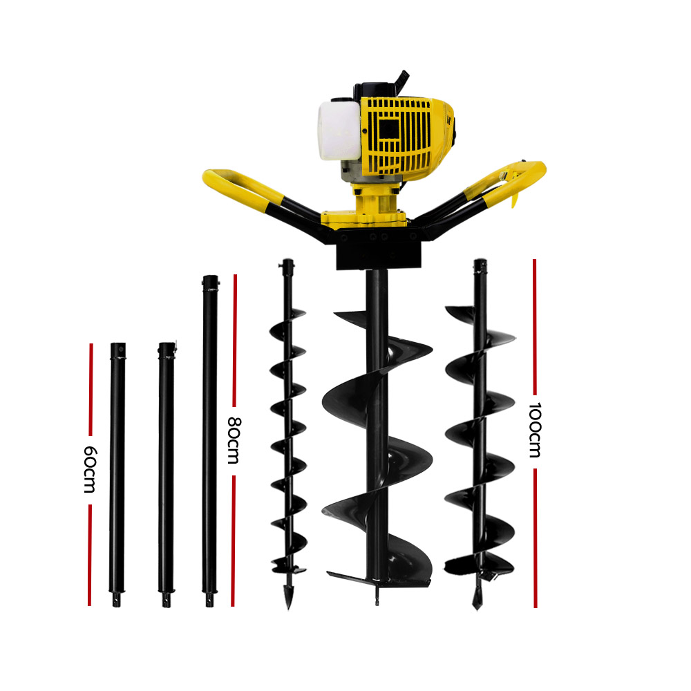 🥇 New Giantz 80CC Post Hole Digger Petrol Drill Auger Borer Fence Extension Bits ⭐+ Fast Free Shipping 🚀