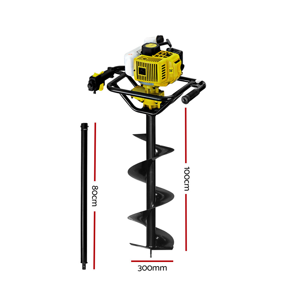 🥇 New Giantz 92CC Post Hole Digger Petrol Auger Drill Borer Fence Earth Power 300mm ⭐+ Fast Free Shipping 🚀