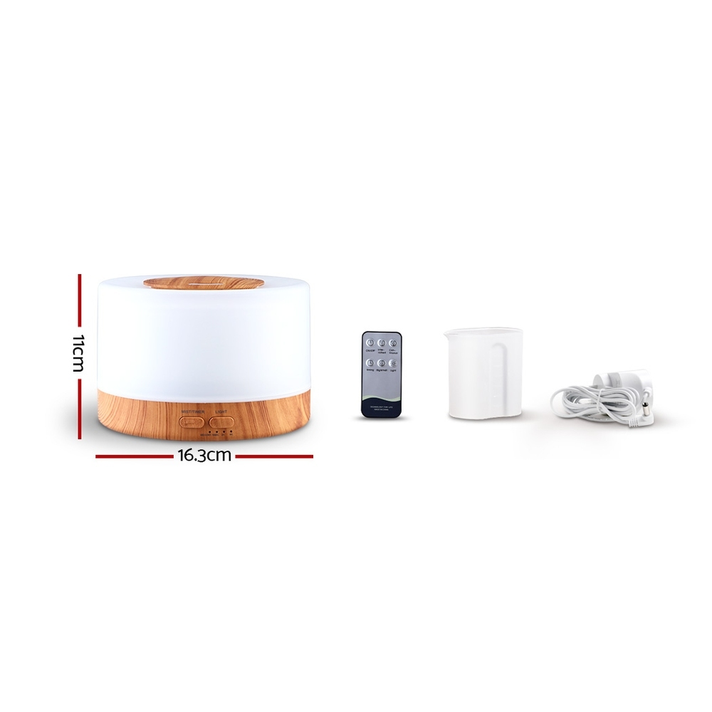 🥇 New DEVANTI Aroma Diffuser Aromatherapy LED Night Light Air Humidifier Purifier Round Light Wood Grain 500ml Remote Control ⭐+ Fast Free Shipping 🚀