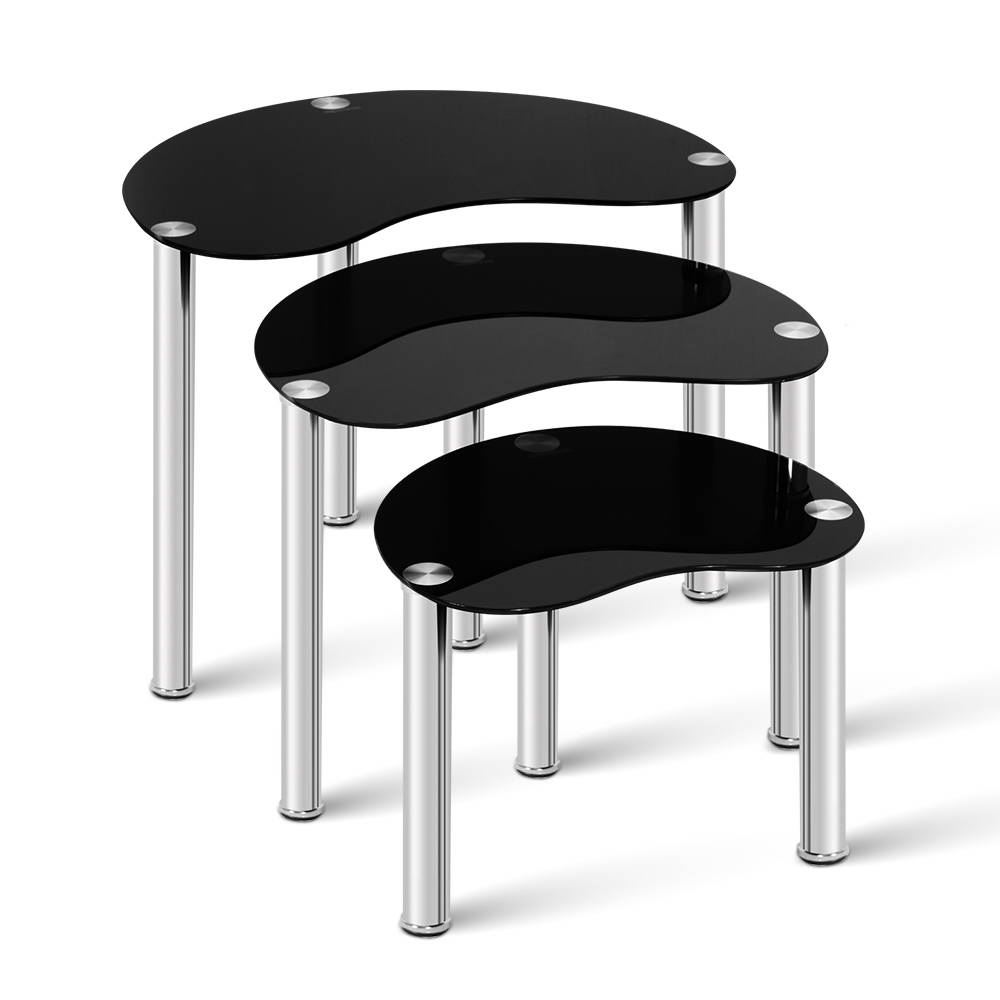 🥇 New Artiss Set Of 3 Glass Coffee Tables – Black ⭐+ Fast Free Shipping 🚀