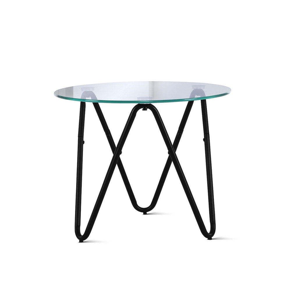 🥇 New Artiss Coffee Table Glass End Side Tables High Gloss Display Modern Furniture 50X50CM ⭐+ Fast Free Shipping 🚀