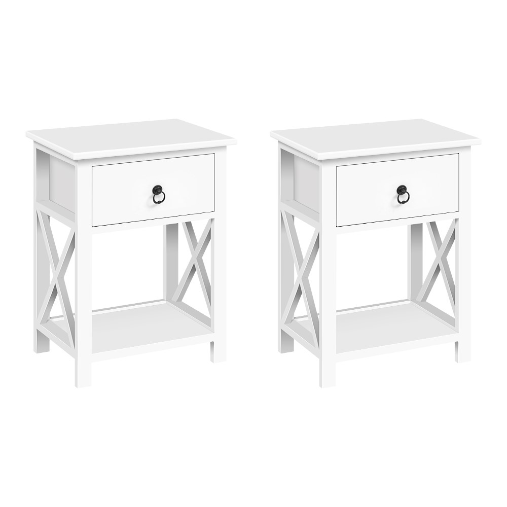 Artiss Set of 2 Bedside Tables Drawers Side Table Nightstand Lamp Chest Unit Cabinet