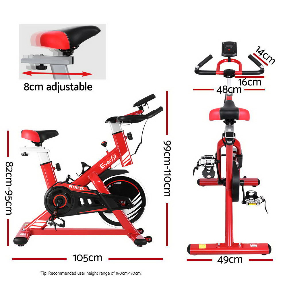 🥇 New Everfit Exercise Spin Bike Cycling Fitness Commercial Home Workout Gym Equipment Red ⭐+ Fast Free Shipping 🚀