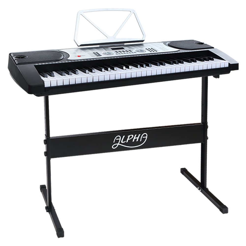 Brand New Alpha 61 Keys Electronic Piano Keyboard LED Electric Silver with Music Stand for Beginner Fast Free Shipping
