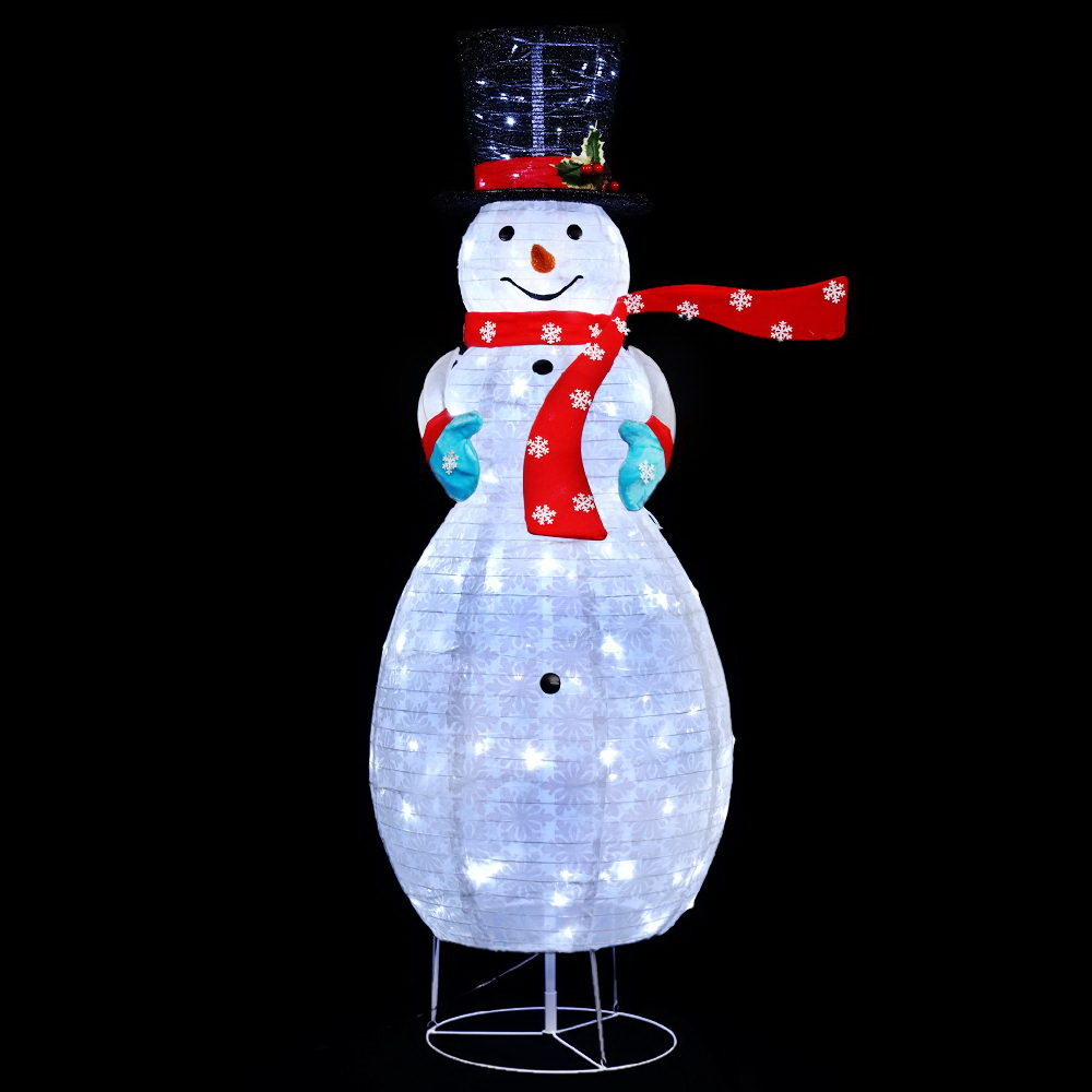 Jingle Jollys Christmas Motif Lights Foldable Snowman 120 LED Fairy Outdoor