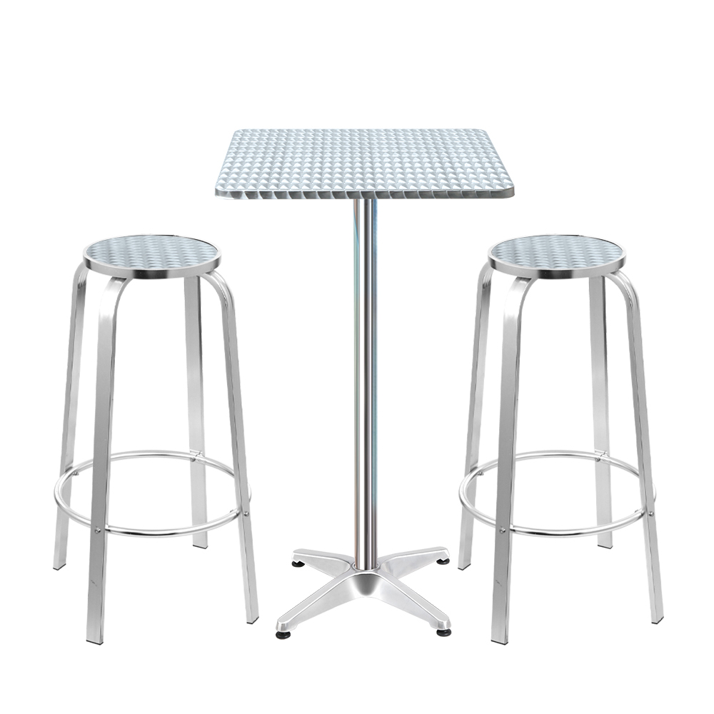 🥇 New Gardeon Outdoor Bistro Set Bar Table Stools Adjustable Aluminium Cafe 3PC Square ⭐+ Fast Free Shipping 🚀