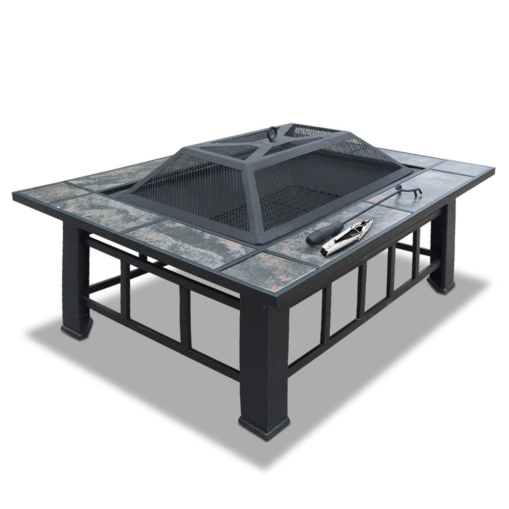 Fire Pit BBQ Grill Table Outdoor Garden Patio Camping Wood Charcoal Fireplace