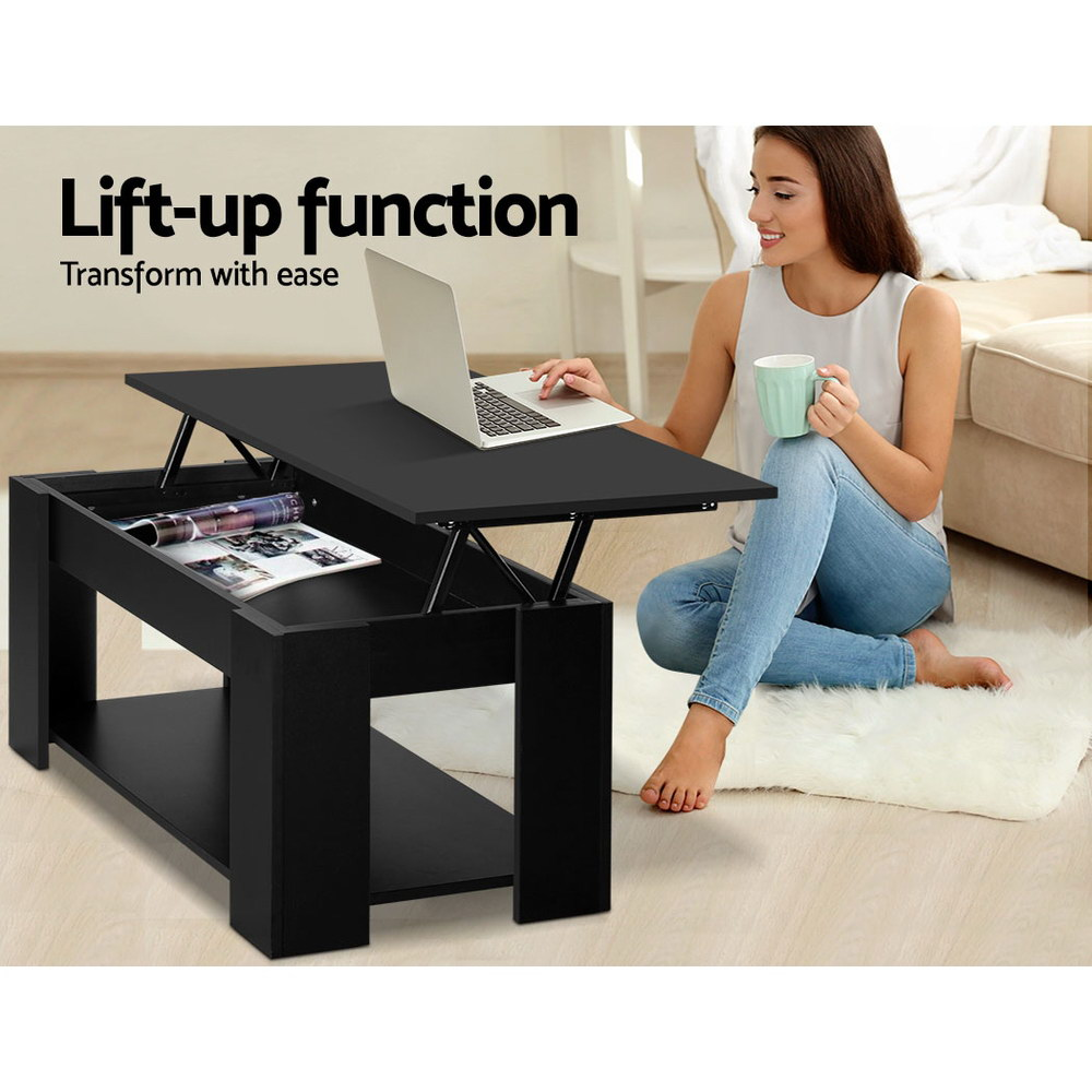 New Artiss Lift Up Top Coffee Table Storage Shelf Black + Fast Free Shipping