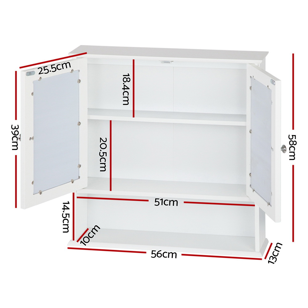 🥇 New Artiss Bathroom Tallboy Storage Cabinet with Mirror – White ⭐+ Fast Free Shipping 🚀