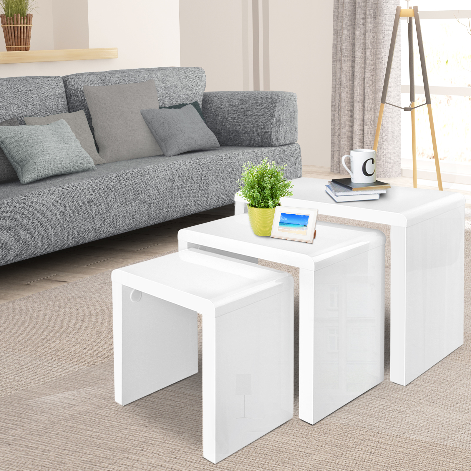 High Gloss 3 Side Nested Of Tables White Set Coffee Table: Set Of 3 Nest Tables High Gloss Side Wooden Coffee Nesting