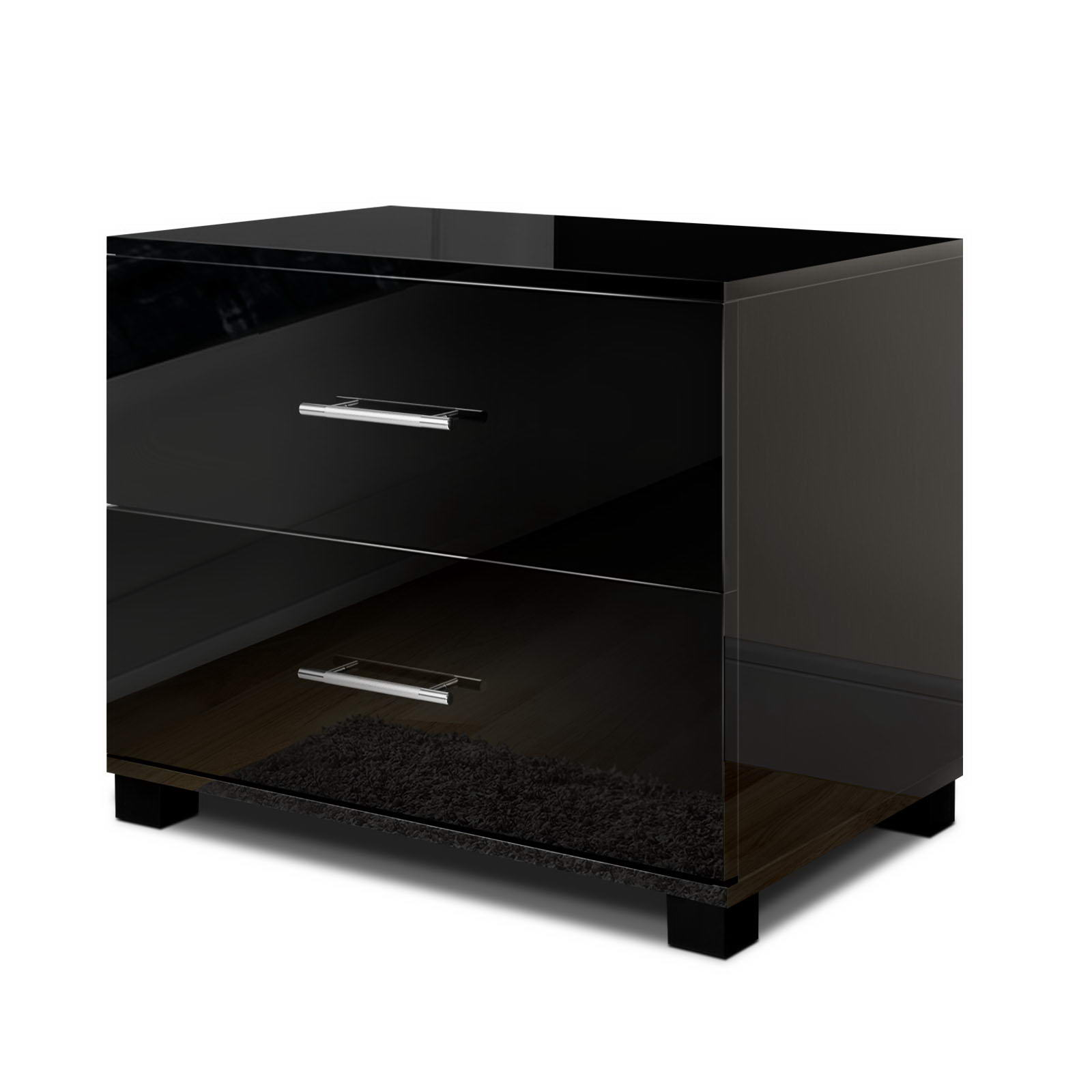 🥇 New Artiss High Gloss Two Drawers Bedside Table – Black ⭐+ Fast Free Shipping 🚀
