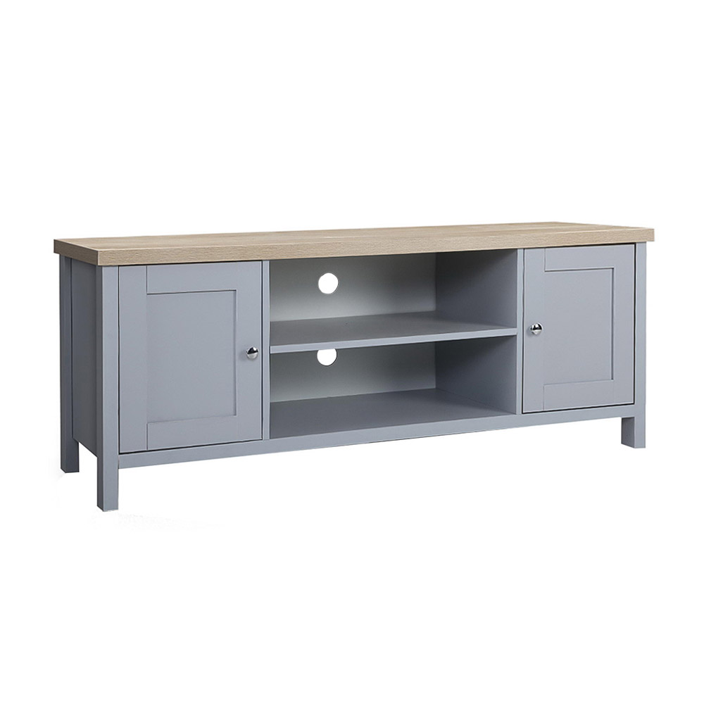 Artiss TV Cabinet Entertainment Unit Stand French Provincial Storage Shelf Wooden 130cm Grey