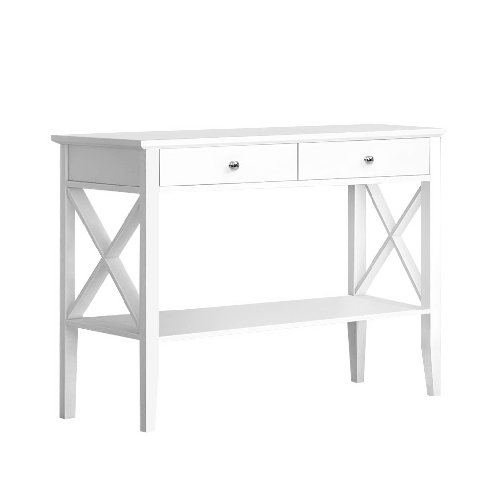 Artiss Console Table Hall Side Entry 2 Drawers Display White Desk Furniture