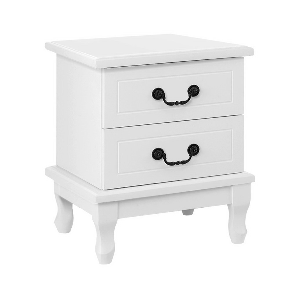 Artiss KUBI Bedside Tables 2 Drawers Side Table French Nightstand Storage Cabinet