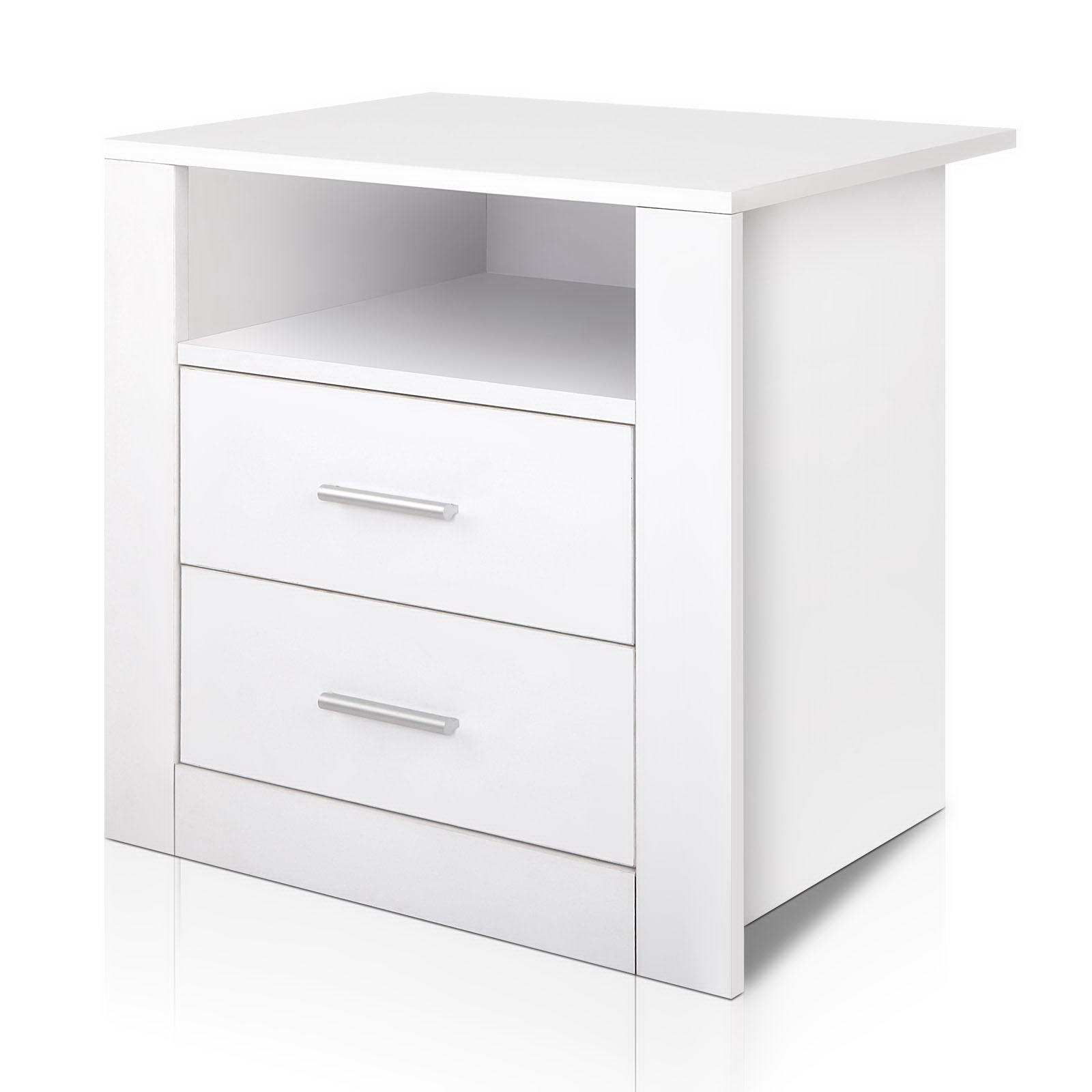 🥇 New Artiss Anti-Scratch Bedside Table 2 Drawers – White ⭐+ Fast Free Shipping 🚀