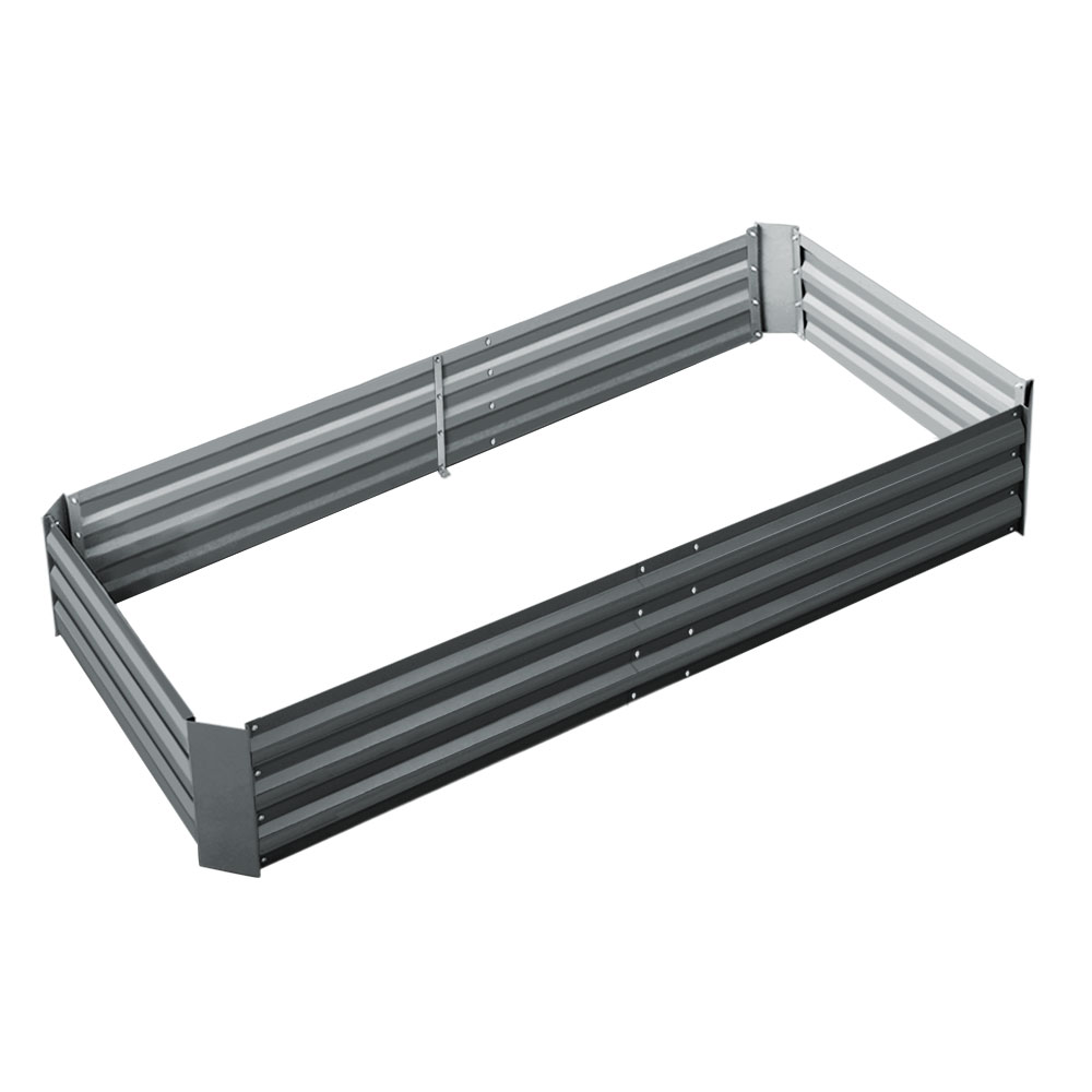 Greenfingers Galvanised Steel Raised Garden Bed Instant Planter 210 x 90 Aluminium
