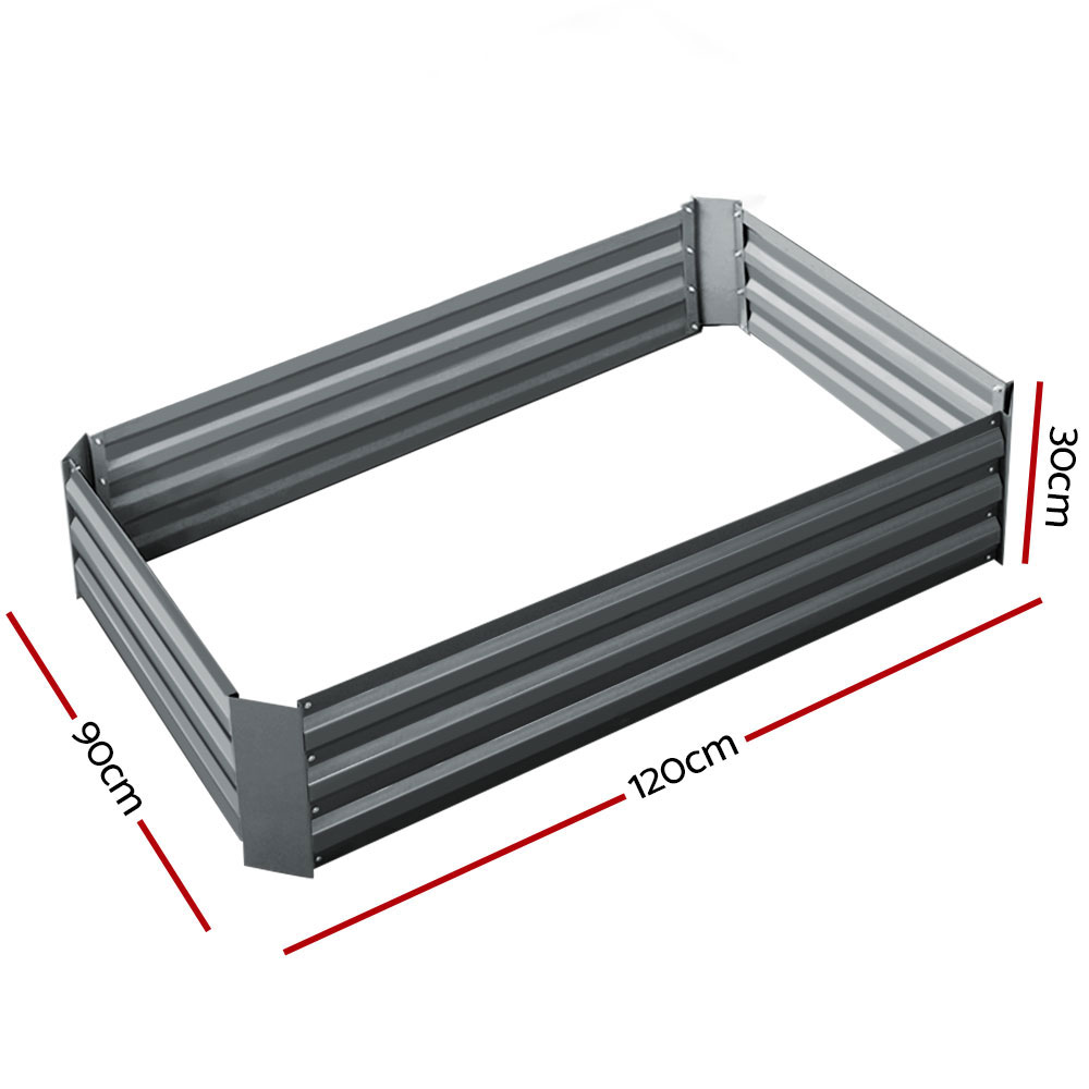 🥇 New Greenfingers Garden Bed 2PCS 120X90X30CM Galvanised Steel Raised Planter ⭐+ Fast Free Shipping 🚀