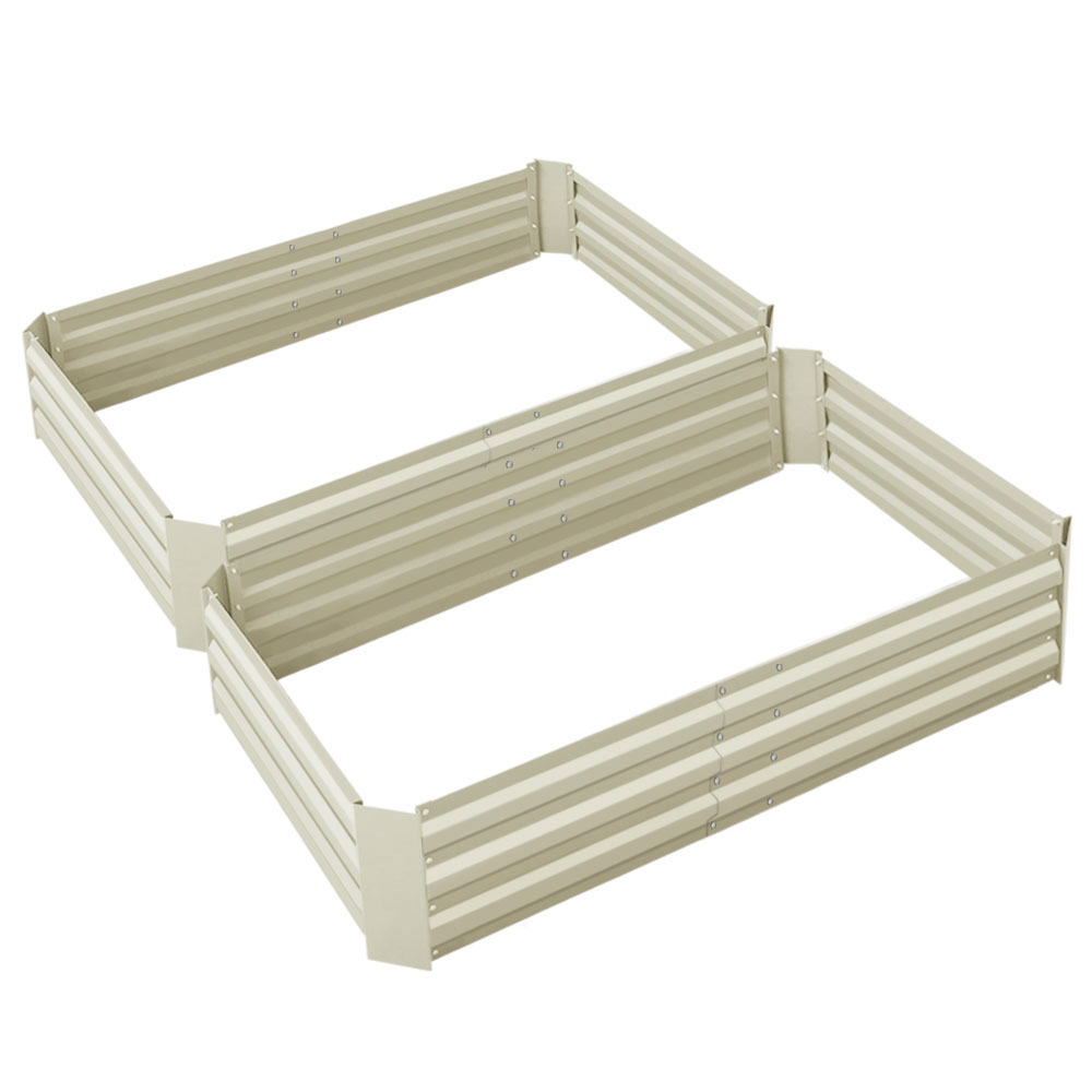 Green Fingers Set of 2 120 x 90cm Raised Garden Bed - Cream