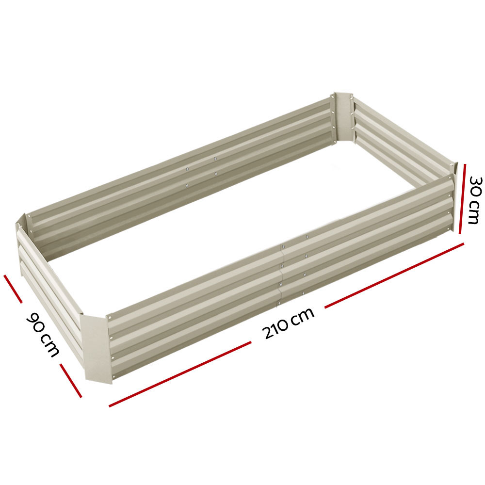 🥇 New Greenfingers Garden Bed 2PCS 210X90X30cm  Galvanised Steel Raised Planter Cream ⭐+ Fast Free Shipping 🚀