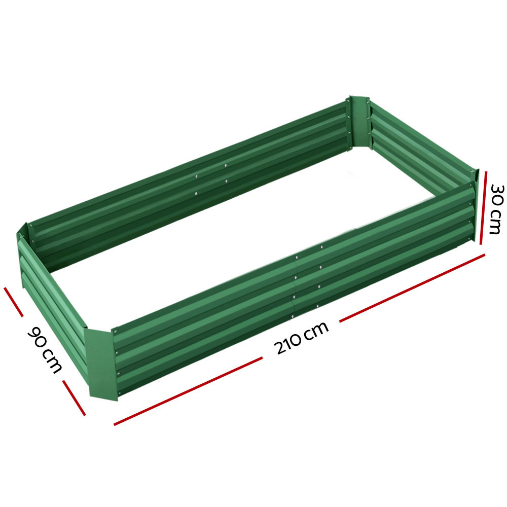 🥇 New Greenfingers Garden Bed 2PCS 210X90X30cm  Galvanised Steel Raised Planter Green ⭐+ Fast Free Shipping 🚀