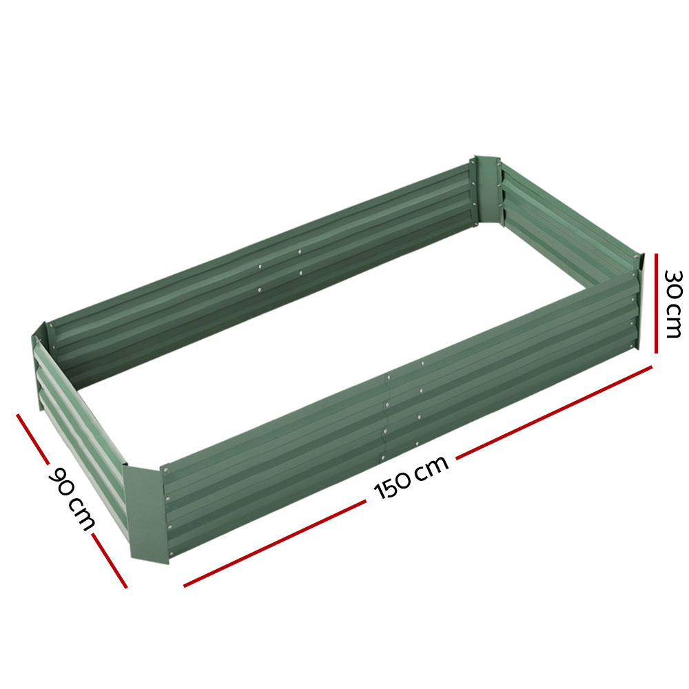 🥇 New Greenfingers Garden Bed 2PCS 150X90X30CM Galvanised Steel Raised Planter Green ⭐+ Fast Free Shipping 🚀