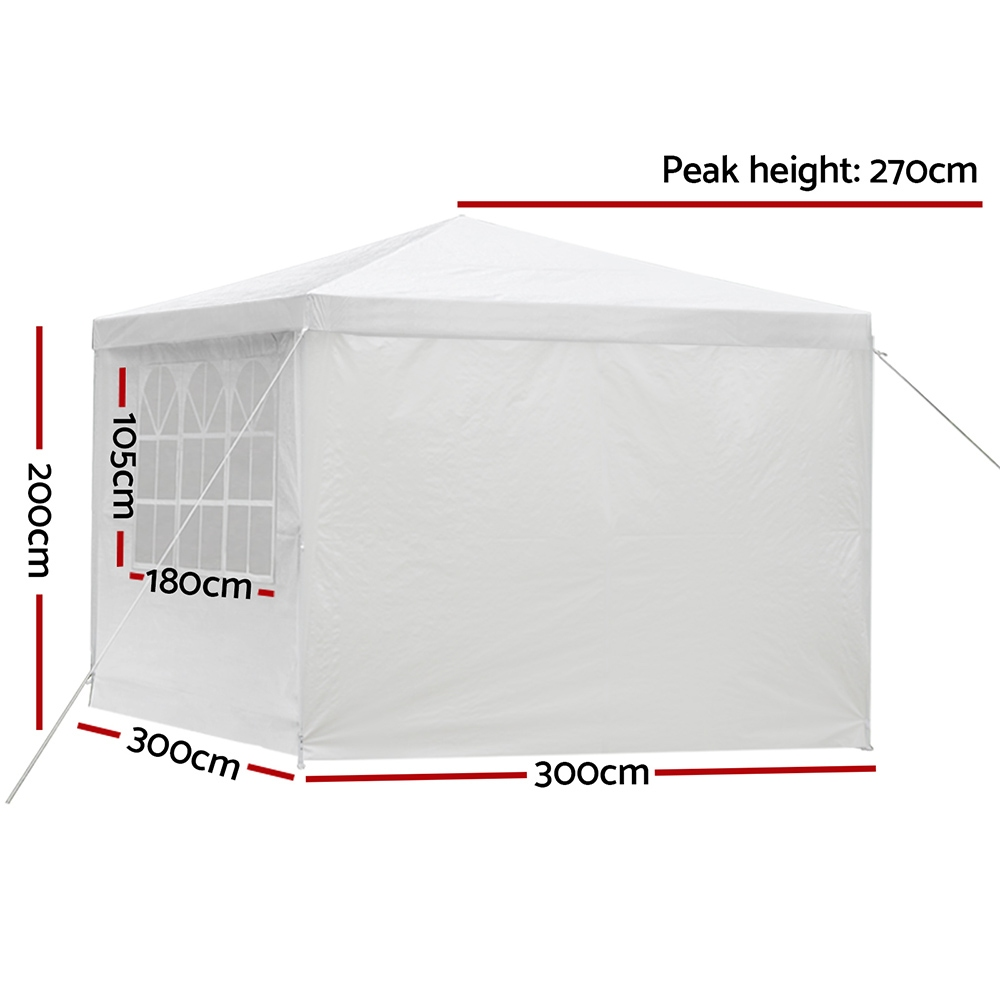 [Brand New] Instahut Gazebo 3x3m Outdoor Marquee Side Wall Party Wedding Tent Camping White 4 Panel Fast Free Shipping Australia Wide 2020