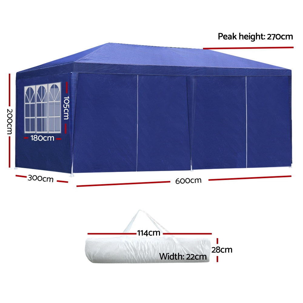 Brand New Instahut Gazebo 3x6m Outdoor Marquee side Wall Gazebos Tent Canopy Camping Blue 8 Panel Fast Free Shipping