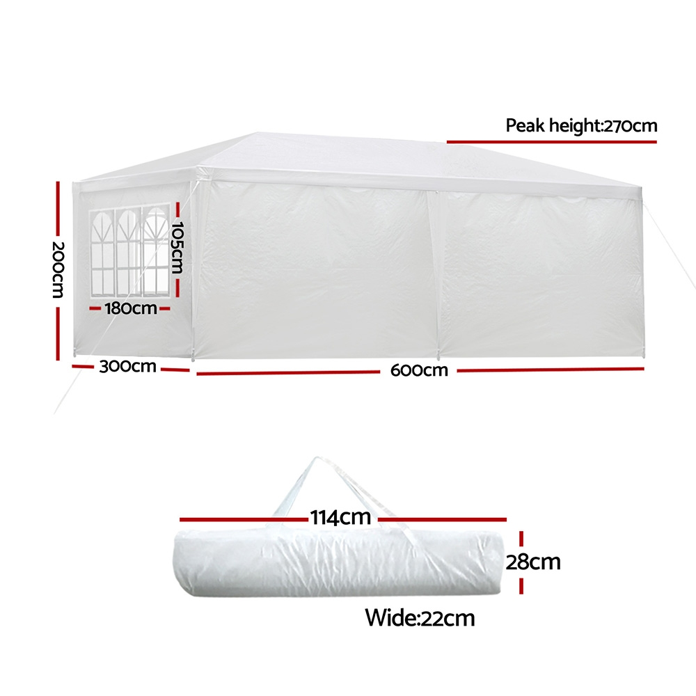 Brand New Instahut Gazebo 3x6m Outdoor Marquee Side Wall Party Wedding Tent Camping White 6 Panel Fast Free Shipping