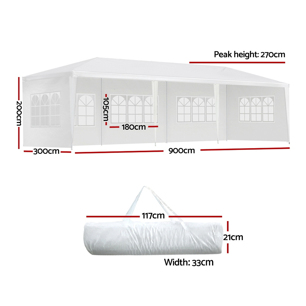 🥇 New Instahut Gazebo 3x9m Outdoor Marquee side Wall Gazebos Tent Canopy Camping White 5 Panel ⭐+ Fast Free Shipping 🚀