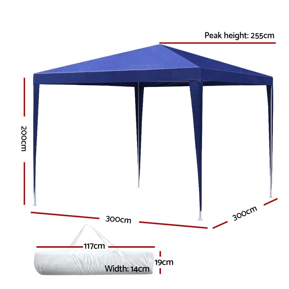 Brand New Instahut Gazebo 3x3m Tent Marquee Party Wedding Event Canopy Camping Blue Fast Free Shipping