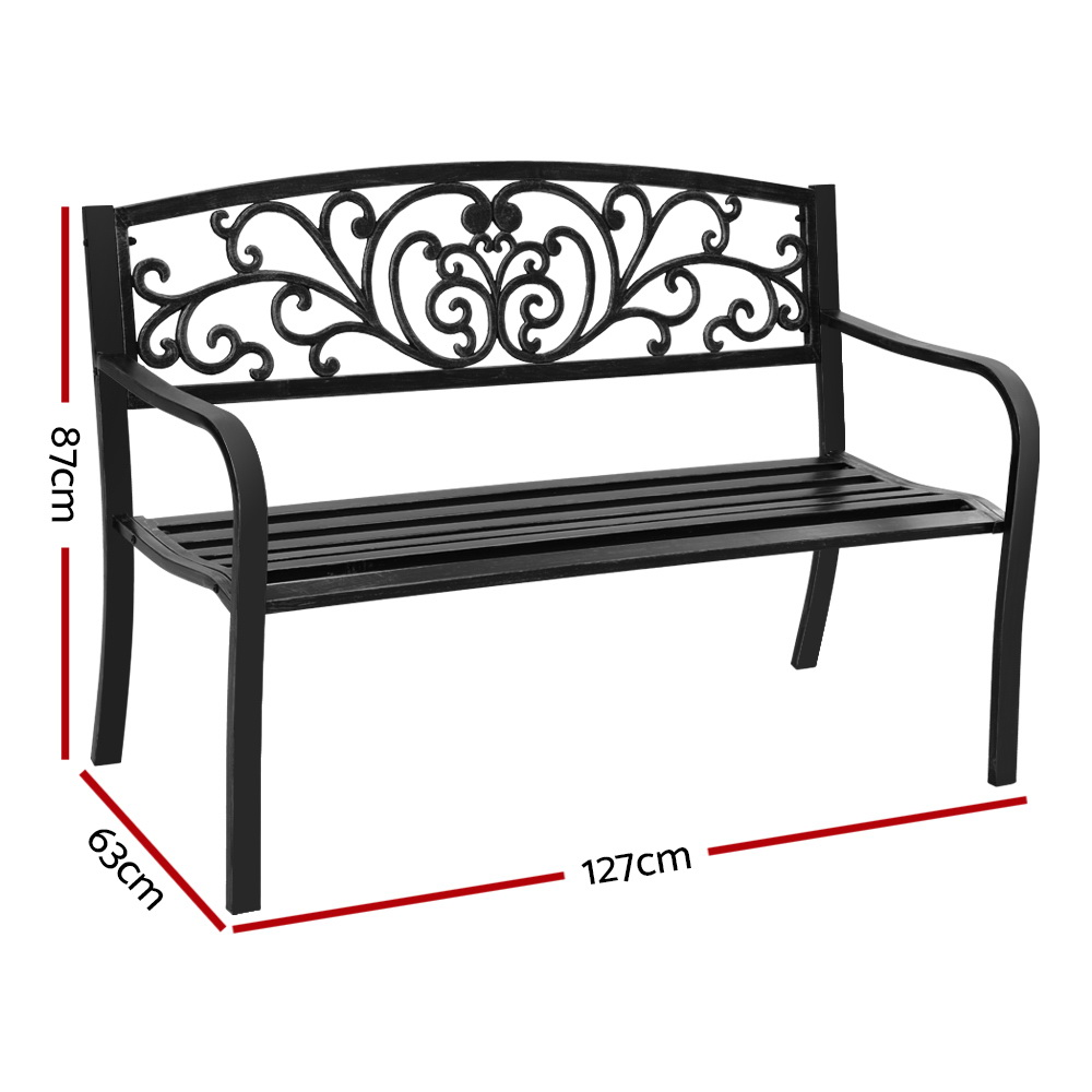 🥇 New Garden Bench Seat Outdoor Chair Steel Iron Patio Furniture Lounge Porch Lounger Vintage Black Gardeon ⭐+ Fast Free Shipping 🚀