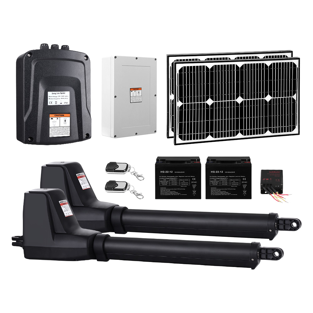 Brand New LockMaster Swing Gate Opener Auto 40W Solar Power Electric Remote Control 1000KG Fast Free Shipping