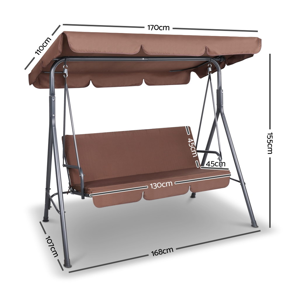 Brand New Gardeon 3 Seater Outdoor Canopy Swing Chair – Coffee Fast Free Shipping