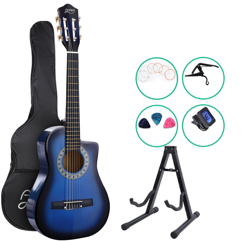 Alpha 34 inch  Inch Guitar Classical Acoustic Cutaway Wooden Ideal Kids Gift Children 1/2 Size Blue with Capo Tuner