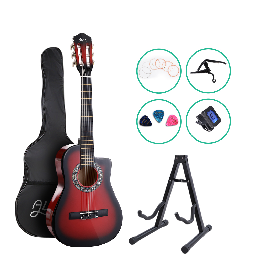 Alpha 34 inch  Inch Guitar Classical Acoustic Cutaway Wooden Ideal Kids Gift Children 1/2 Size Red with Capo Tuner