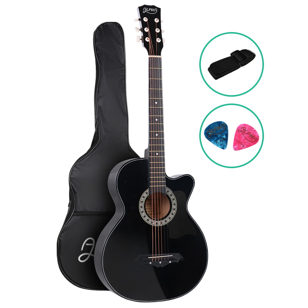 Brand New ALPHA 38 Inch Wooden Acoustic Guitar Black Fast Free Shipping