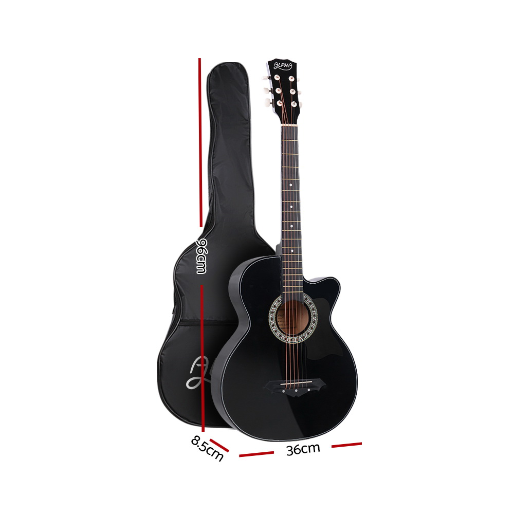 🥇 New ALPHA 38 Inch Wooden Acoustic Guitar Black ⭐+ Fast Free Shipping 🚀