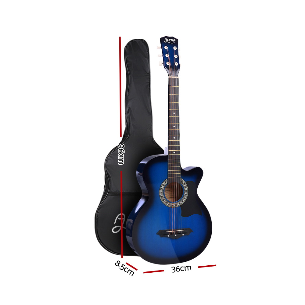 Brand New ALPHA 38 Inch Wooden Acoustic Guitar Blue Fast Free Shipping