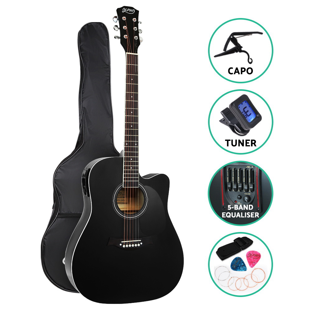 Alpha 41 inch  Inch Electric Acoustic Guitar Wooden Classical Full Size EQ Capo Black