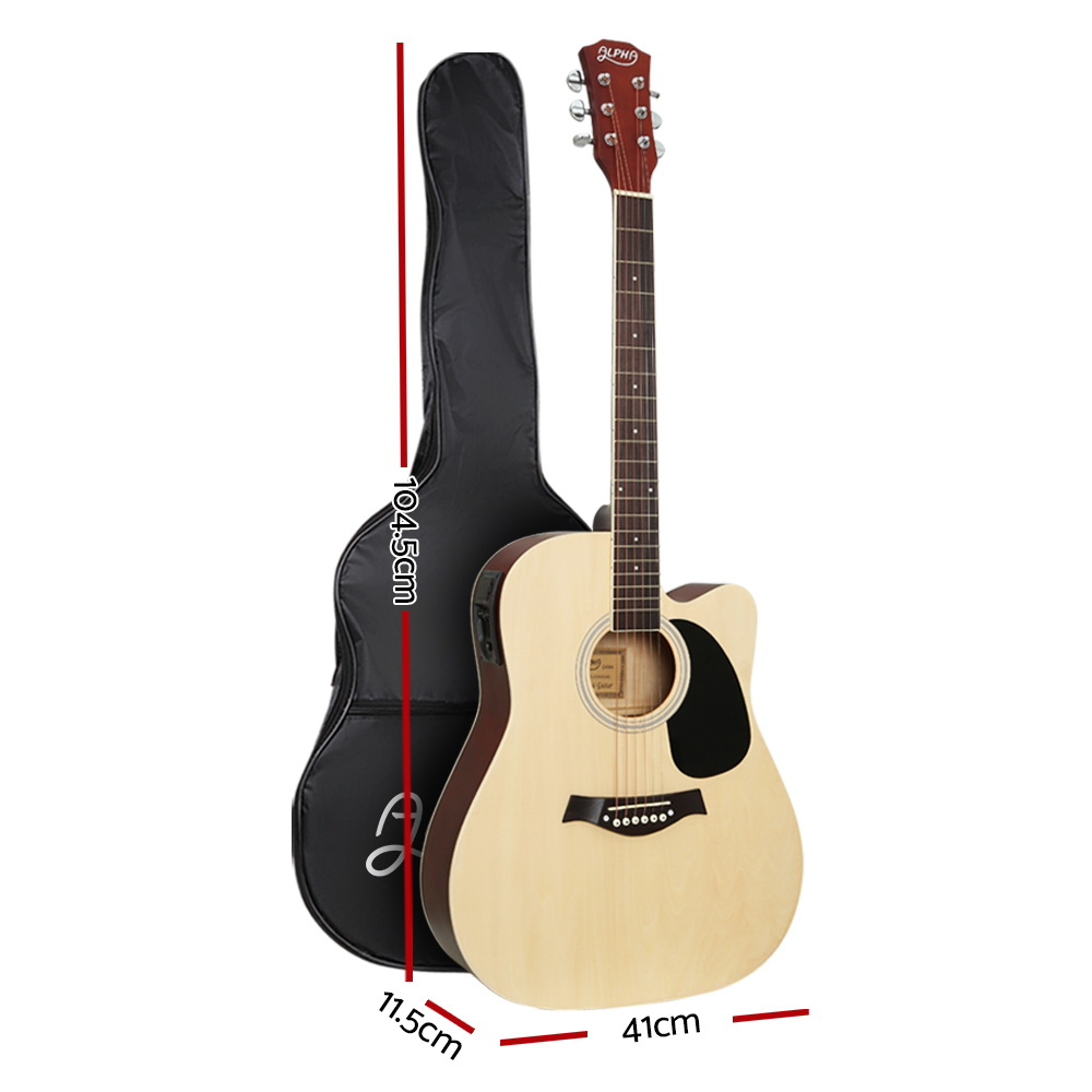 Brand New Alpha 41″ Inch Electric Acoustic Guitar Wooden Classical with Pickup Capo Tuner Bass Natural Fast Free Shipping