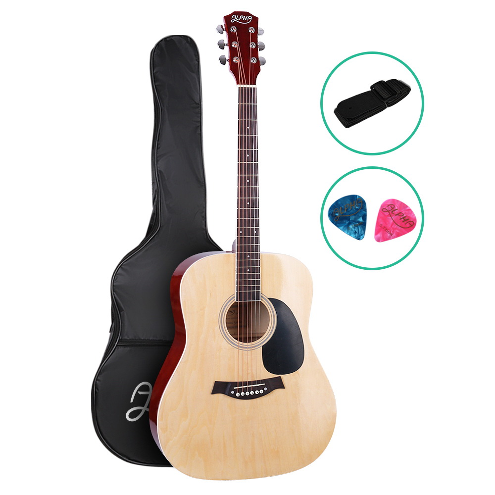 Brand New ALPHA 41 Inch Wooden Acoustic Guitar Natural Wood Fast Free Shipping