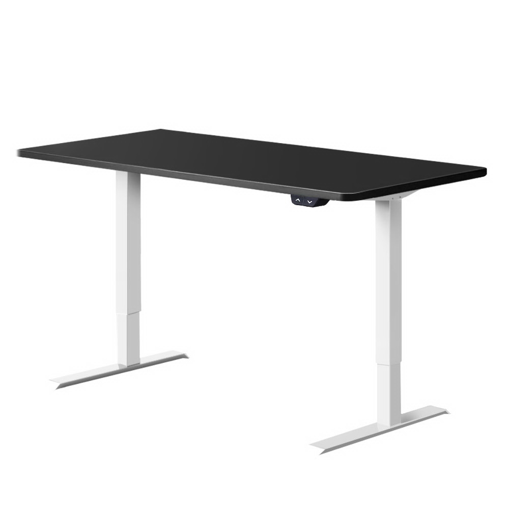 Electric Motorised Height Adjustable Standing Desk - White Frame with 140cm Black Top
