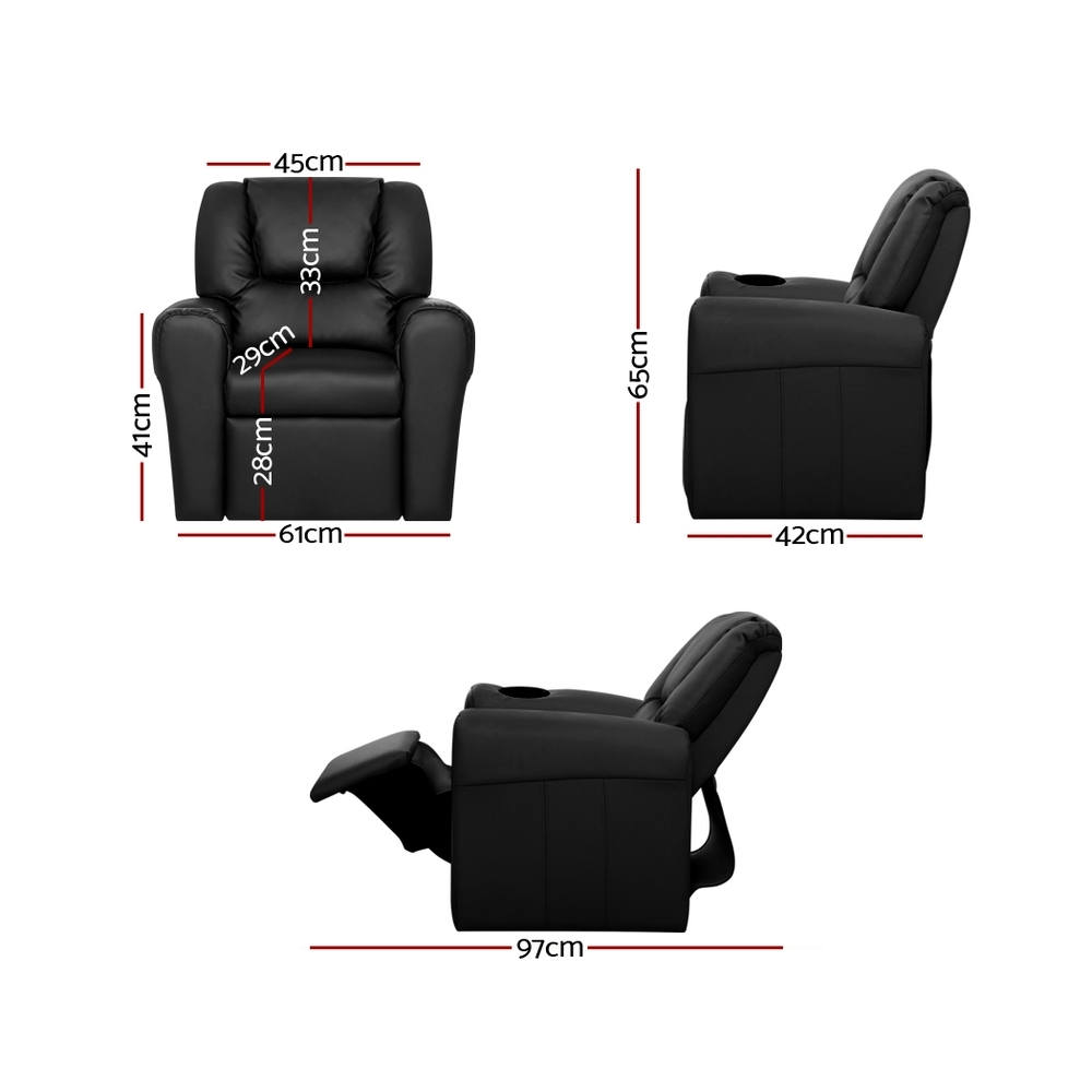 Brand New Keezi Luxury Kids Recliner Sofa Children Lounge Chair PU Couch Armchair Black Fast Free Shipping