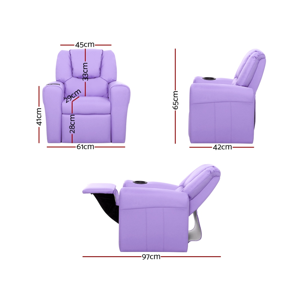 [Brand New] Keezi Luxury Kids Recliner Sofa Children Lounge Chair PU Couch Armchair Purple Fast Free Shipping Australia Wide 2020