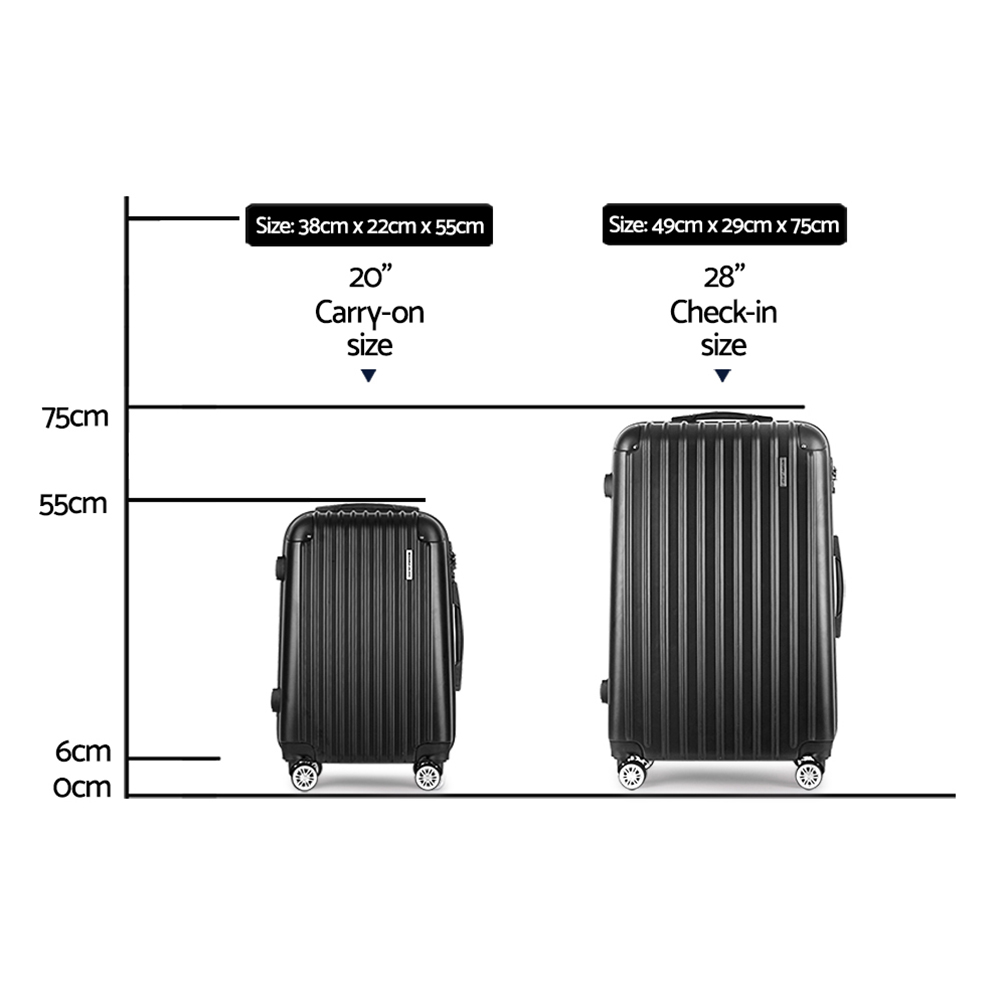 🥇 New Wanderlite 2PCS Carry On Luggage Sets Suitcase Travel Hard Case Lightweight Black ⭐+ Fast Free Shipping 🚀