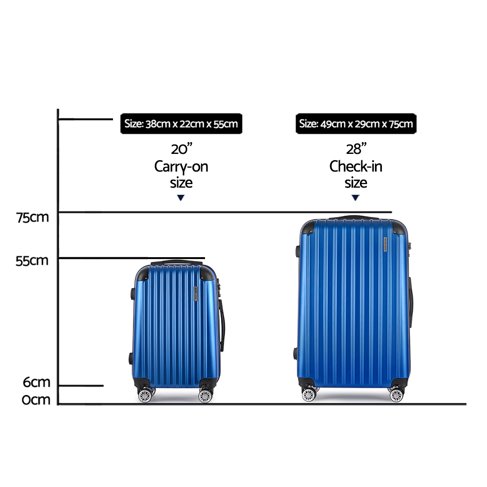 🥇 New Wanderlite 2PCS Carry On Luggage Sets Suitcase Travel Hard Case Lightweight Blue ⭐+ Fast Free Shipping 🚀