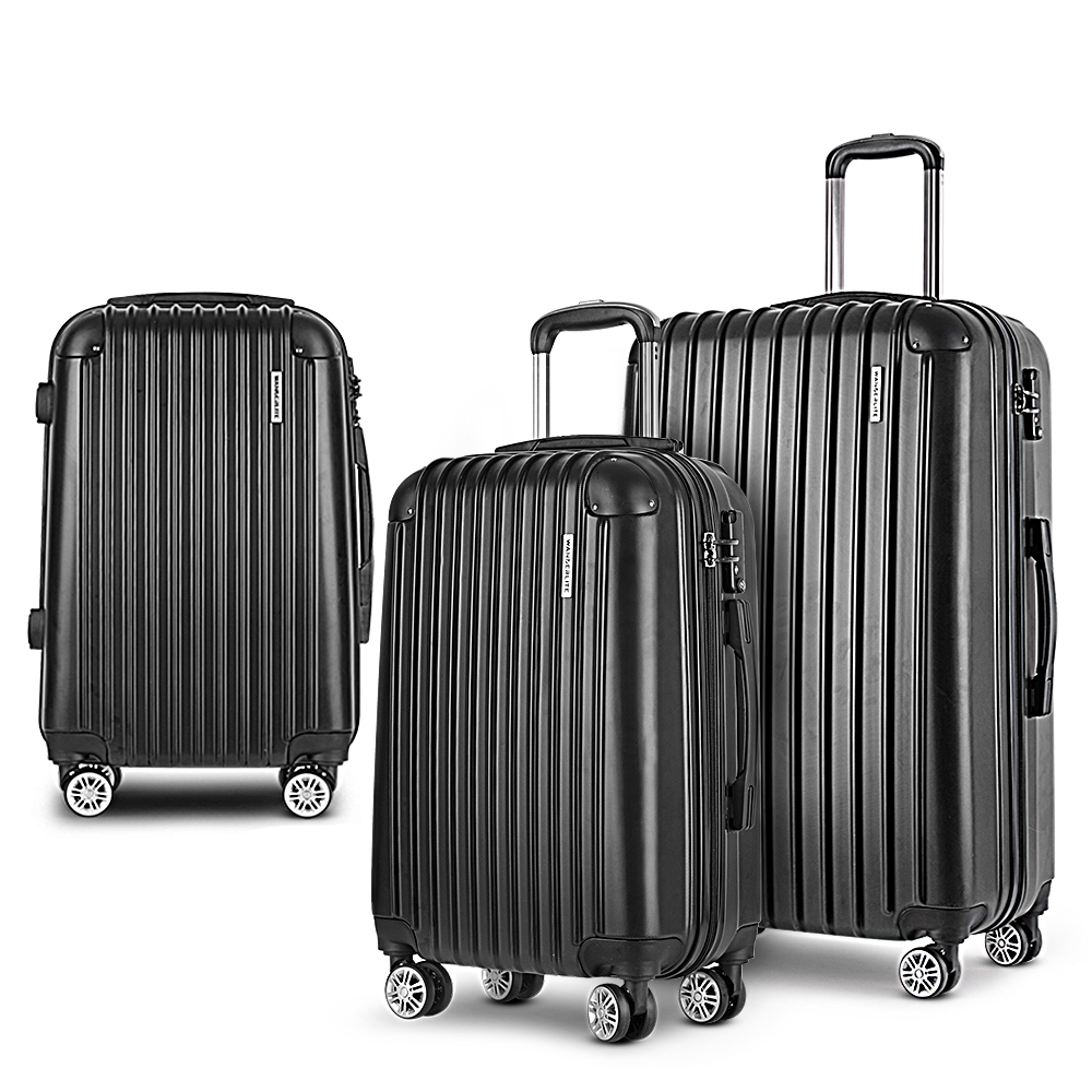 Wanderlite 3pc Luggage Sets Suitcases Set Travel Hard Case Lightweight Black