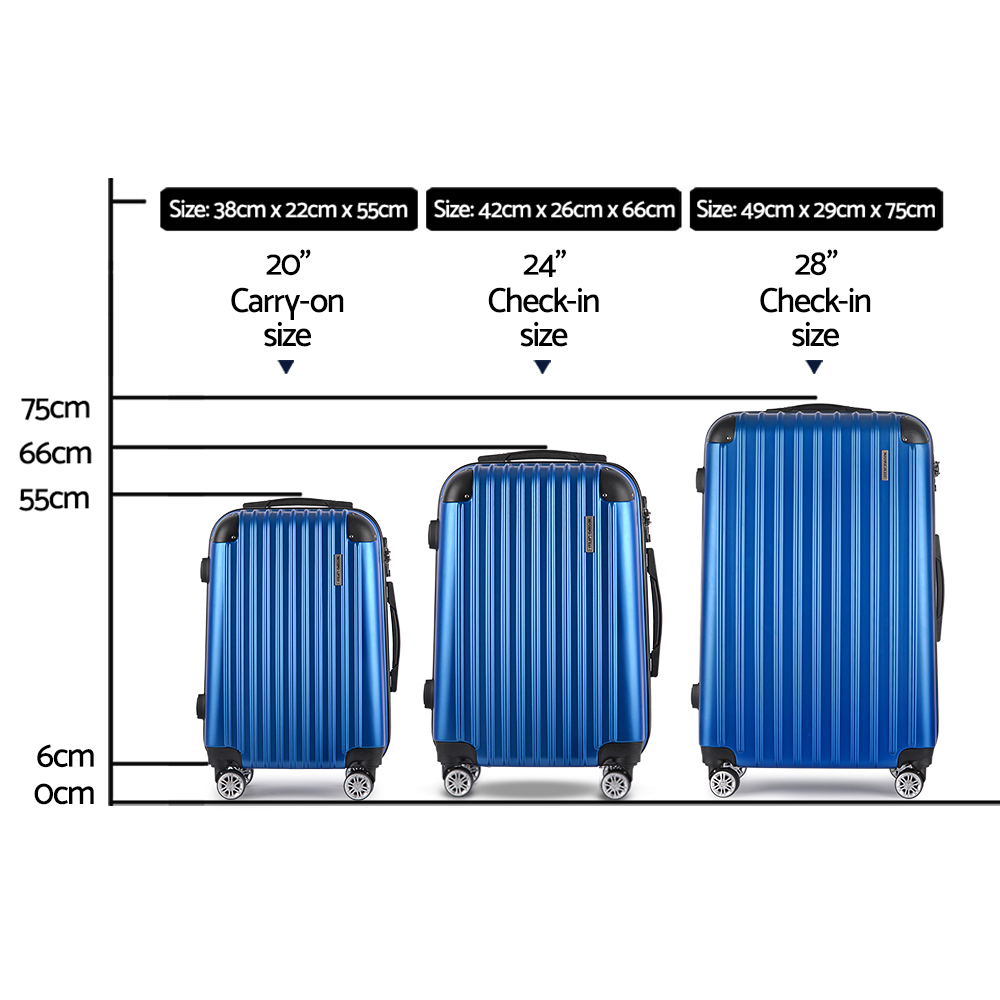 New Wanderlite 3pc Luggage Sets Suitcases Set Travel Hard Case Lightweight Blue + Fast Free Shipping